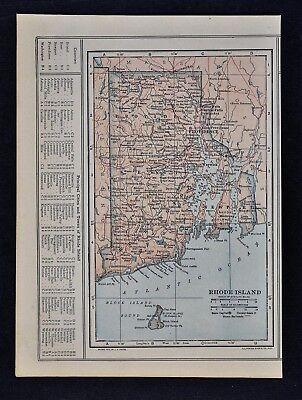 1914 Poates Map - Rhode Island - Providence Newport Greenwich Pawtucket Warwick