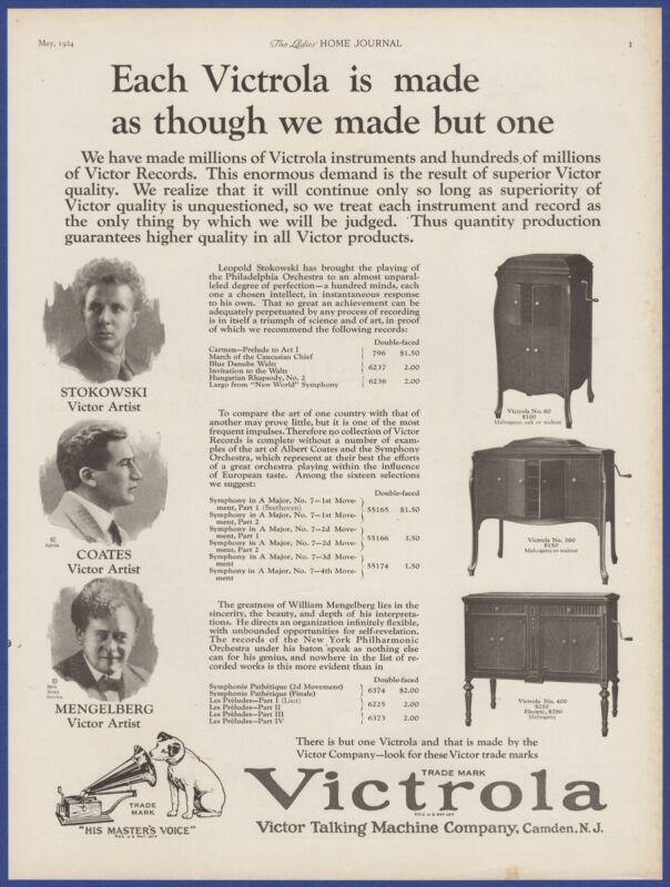 Vintage 1924 VICTROLA Victor Model 80 260 400 Phonograph 20