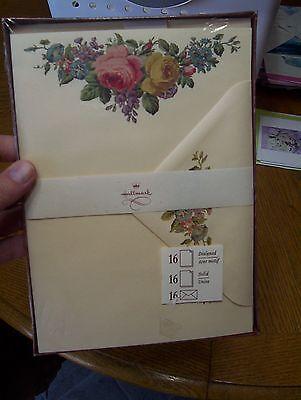 Vintage Hallmark Stationery Box Set - Victorian Roses 16 sheets & 16 envelopes