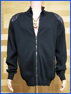 BRAND NEW VERSACE ZIPPER COTTON JACKET WITH LEATHER SHOULDERS XXL