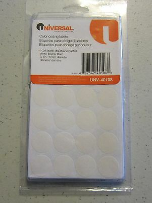 """1008 WHITE UNIVERSAL 3/4"""" ROUND COLOR CODING LABELS STICKER DOTS INVENTORY CODE"""