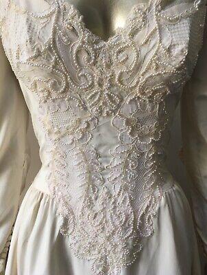 Sweetheart Vintage 90s Pearl Bustle Lace Wedding Train Long Sleeve White Dress M