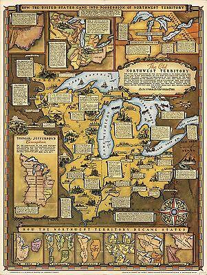 1937 PICTORIAL map Northwest Territory Ohio Michigan Minnesota POSTER 8373000