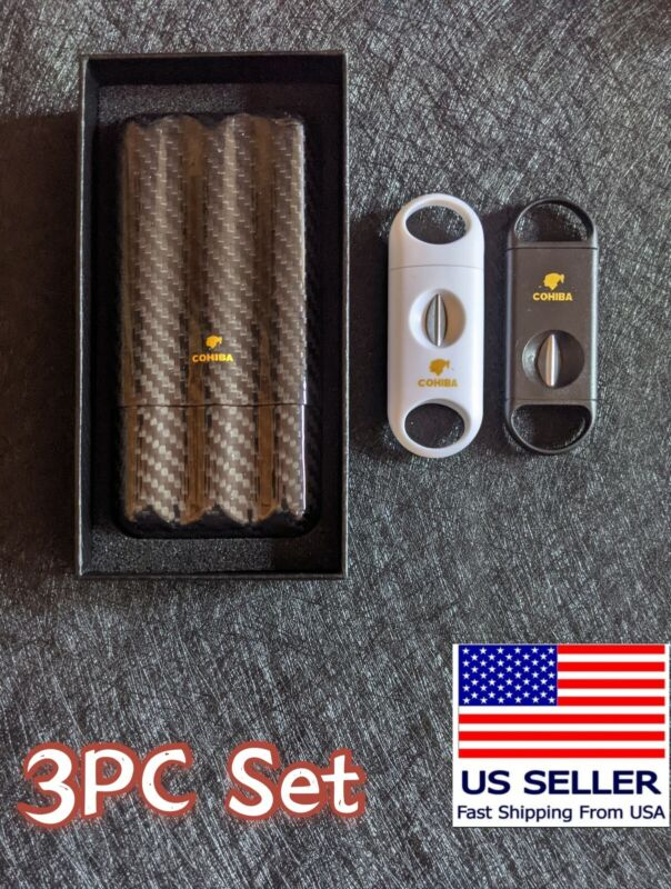 Cohiba cigar case real carbon fiber 3 tube travel humidor with 2 cutter