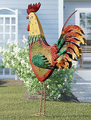 Rooster Garden Statue Yard Metal Chicken Rustic Country Bird Sculpture Patio Art