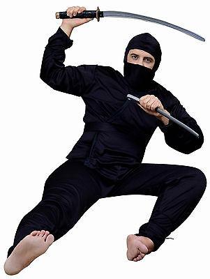 Mens Asian Halloween Costumes (DELUXE BLACK ASIAN NINJA ADULT STANDARD HALLOWEEN COSTUME MEN'S SIZE)