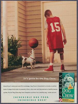 Terrier Dog Twirling Basketball Purina Dog Chow Vintage Magazine Print Ad 1999