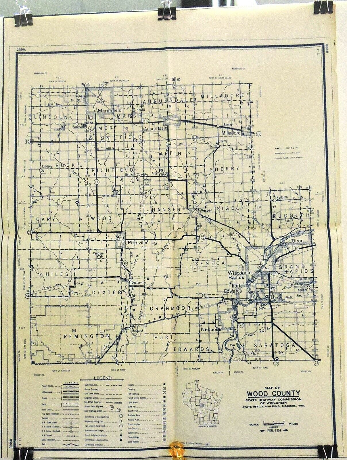 Wood County, Wisconsin - 1951 State Highway Commission 28 X 20 Map. - $9.95