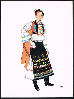 1930s Vintage Detva Slovakia European Man's Clothing Pochoir Art Print