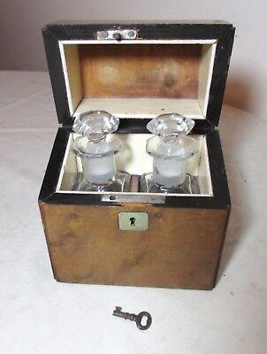 antique 1800's handmade wood cut crystal scent perfume cologne bottle box set