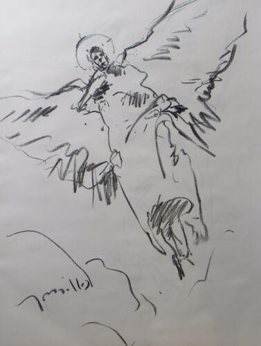 JOSE TRUJILLO Impressionism ORIGINAL CHARCOAL DRAWING FIGURATIVE ANGEL FLYING