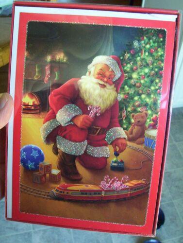 New Box of 18 Holiday Christmas Cards Santa Playing with Train Set Hallmark
