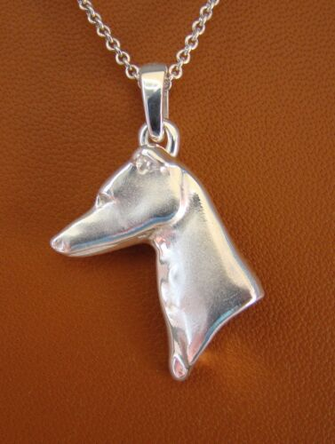 Large Sterling Silver Greyhound Head Study Pendant