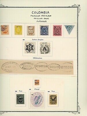 Colombia Classic Selections: ALBUM PAGE LOT #5 - FOURNIER FORGERIES $$$