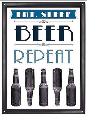 Eat Sleep Beer Repeat Metal Sign - Drinking Sign, Man Cave, DJ Sign