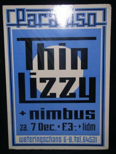 "Thin Lizzy & Nimbus,Concert Poster at the Paradiso,Amsterdam,Dec.7,1974~24""x 17"""