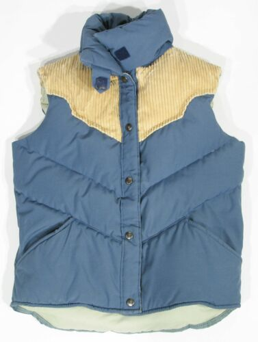 VINTAGE Mens Size M William Barry Tan Corduroy Blue Down Quilted Puffer Vest