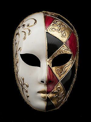 Mask from Venice Volto Red Golden a Argyle Gesso for Gala or Evening 1362 V77