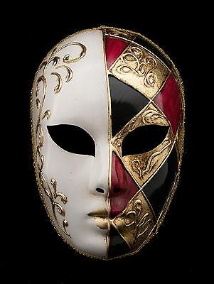Maske Venedig- Volto Rot Gold- mit Rautenmuster Gesso - Rot Mit Gold Maske