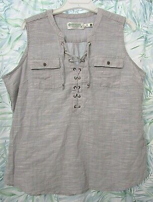 AVENTURA Sz L Gray Sleeveless Organic Cotton Top Blouse Shirt