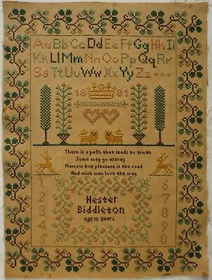 EARLY 19TH CENTURY SILK NEEDLE CASE c.1800 & SAMPLER BY HESTER BIDDLETON - 1881?
