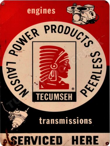 "TECUMSEH ENGINES SERVICED HERE 9"" x 12"" Aluminum Sign"
