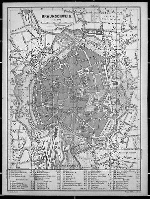BRAUNSCHWEIG, alter Stadtplan, datiert 1896
