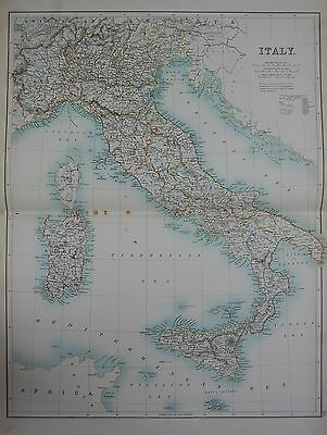 1897 ITALY SICILY CORSICA LARGE MAP