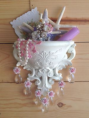 WHITE WALL POCKET SCONCE CRYSTAL PRISMS~Shabby Vintage Chic~Pink Porcelain Roses