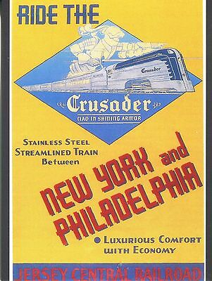 POST CARD OF VINTAGE POSTER FOR 'THE CRUSADER' JERSEY CENTRAL PASSENGER TRAIN