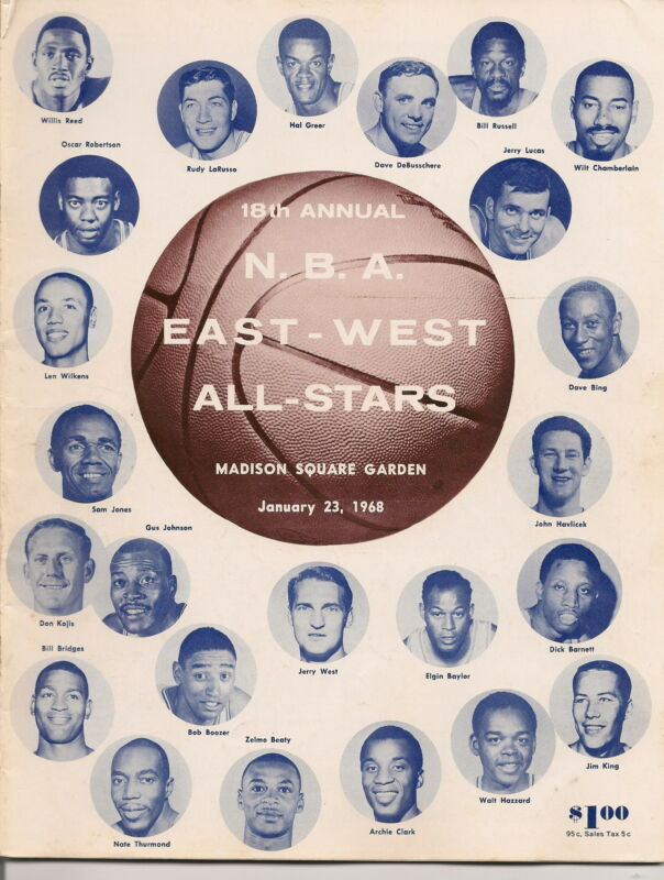 1967-68 NBA All Star Game Program @ New York + Stub East Cruises to Win EX!!