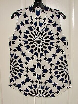 NWT Equipment Femme sz M silk sleeveless Colleen geo white/black/blue print top