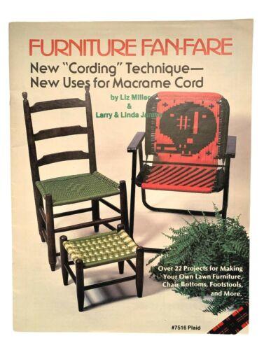VTG Furniture Fan-Fare Macrame Cording Pattern Book Liz Miller Lawn Patio Chairs