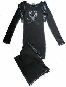 BLACK-SKULL-BALL-CLOSURE-STRAP-JERSEY-LONG-DRESS-10-12-CYBER-GOTH-STEAMPUNK