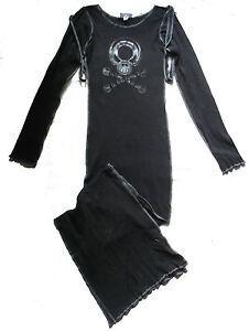 BLACK-SKULL-BALL-CLOSURE-STRAP-JERSEY-LONG-DRESS-10-12-CYBER-GOTH-STEAMPUNK