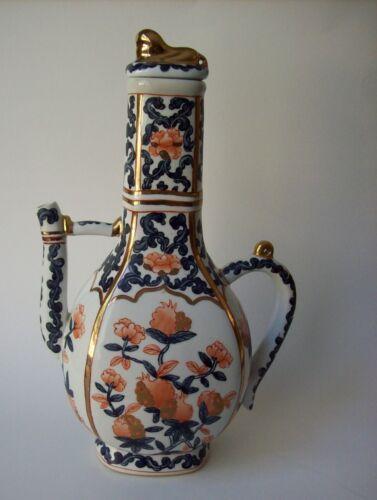 Antique Chinese Hand Painted Porcelain Gold Gilt Ewer W/ Gold Gilt Lion Lid