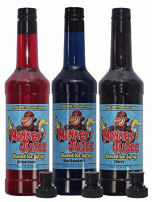 You Choose Flavors 3 Bottles Of Snow Cone Flavoring - Pure Cane Sugar