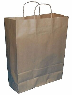 20 LARGE BROWN TWISTED HANDLE KRAFT PAPER CARRIER BAGS 12.5