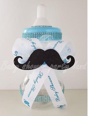 Little Man Mustache Party Supplies (Little Man Mustache Centerpiece Bottle Large Baby Shower  It's a Boy  Piggy)