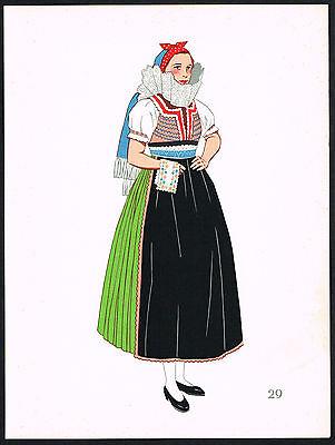 1930s Vintage Uhersky Brod Slovakian European Woman's Clothing Pochoir Art Print