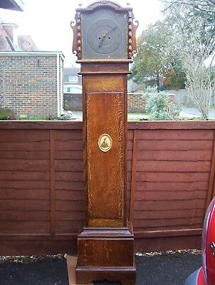 Oak Grandfather Clock Case Brass Dial Smiths Enfield Movement 69.5