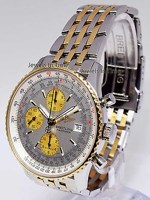 Breitling Navitimer Chronograph 18k Yellow Gold & Steel Watch & Box D13322