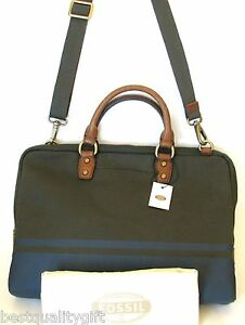 NEW-FOSSIL-ESTATE-GREEN-BLUE-CANVAS-BRIEFCASE-CROSS-BODY-HAND-VTY-DOC ...