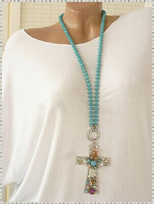 edle xl Halskette Kette mit Kreuz Perlen 2 tlg zum auswechseln Strass