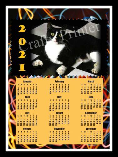 2021 CAT CALENDAR MAGNET - TUXEDO CAT