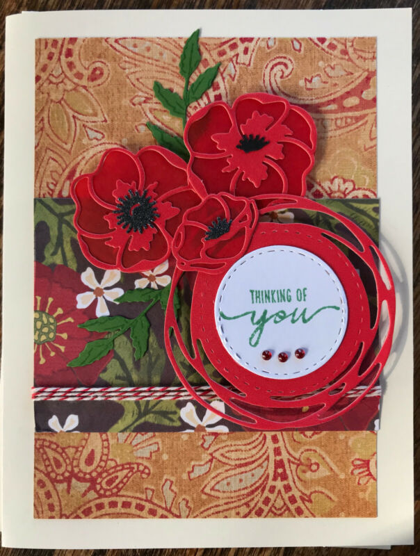 Handmade Greeting Card - Thinking of You, Poppies, Birthday, Get Well, Blank