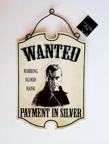 WANTED Dracula Halloween Decor Metal Hanging Sign