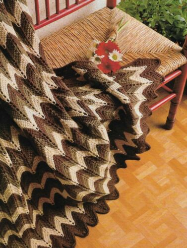 AFGHAN STITCH RIPPLE AFGHAN CROCHET PATTERN INSTRUCTIONS