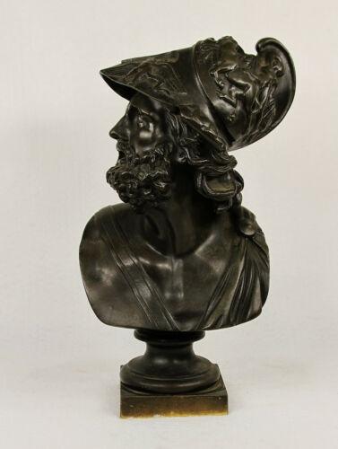 Antique Bronze Bust Sculpture Greek Bust of Trojan Hero Ajax, 19 century