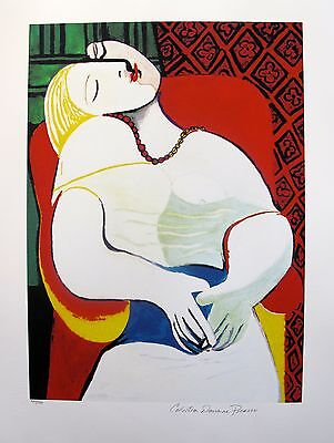 """Pablo Picasso """"THE DREAM"""" Estate Signed Limited Edition Art Giclee 26"""" x 20"""""""